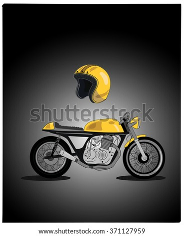 Yellow retro motorcycle vector illustration