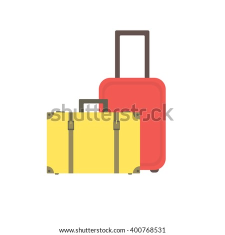 Yellow retro suitcase with buckles and straps and a modern red suitcase on wheels. Two suitcases. Suitcases for traveling and business trips. Vector. - stock vector