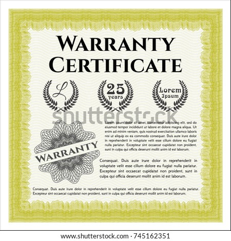 Green warranty certificate template guilloche pattern stock vector yellow retro warranty certificate template with great quality guilloche pattern customizable easy to yelopaper Choice Image