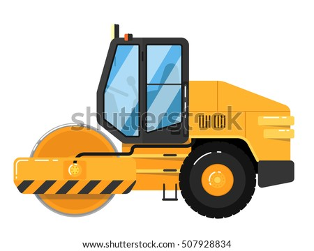 Yellow Road Roller Isolated On White Stock Vector ...