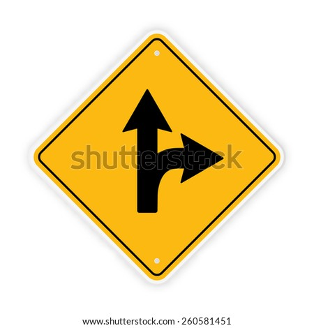 Yellow road sign. Symbol for navigation. Semi realistic feel. Vector illustration.