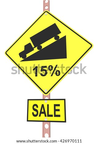 Yellow road sign with 15% discount message and sale alert