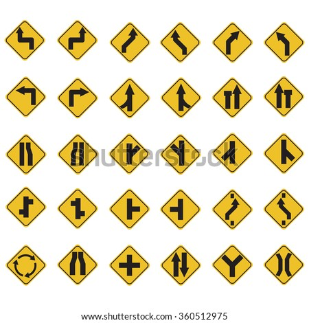 yellow road signs, traffic signs vector set on white background. A set of 30 item - stock vector