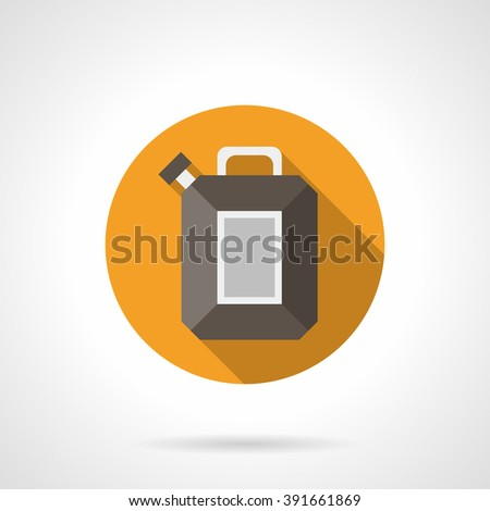 Yellow round button with brown fuel canister. Vehicles filling. Gas station. Oil industry. Flat color style vector icon. Web design element for site, mobile and business. - stock vector