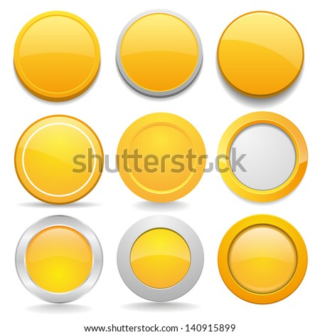 Yellow round buttons in nine different forms