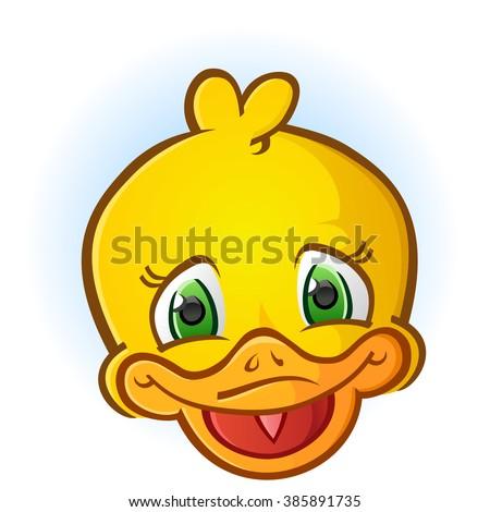 Yellow Rubber Duck Face Cartoon Character - stock vector