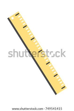Yellow ruler icon. Vector flat illustration for web.