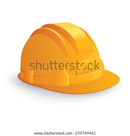 Yellow safety hard hat isolated on white. Vector illustration - stock vector