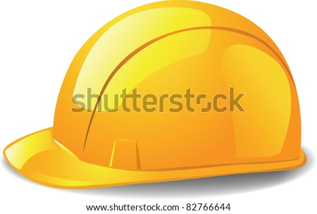 Yellow safety hard hat. Vector illustration