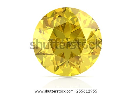 yellow sapphire on white background.Vector illustration. - stock vector