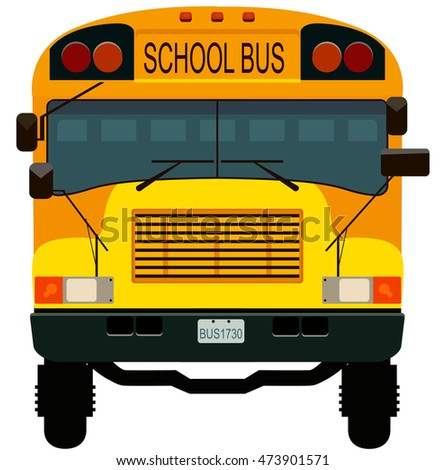 Yellow school bus for children. Vector illustration.