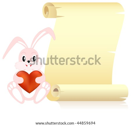 Yellow scroll and cute bunny with heart in paw. Isolated on a white. Vector illustrated. - stock vector