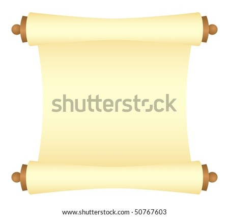 Yellow scroll with wood platens, unwraped view. Isolated on a white. Vector illustration. - stock vector