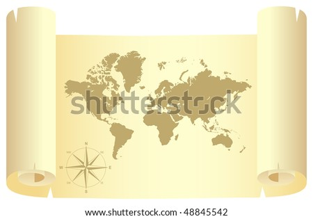 Yellow scroll with world map. Vector illustration, isolated on a white - stock vector