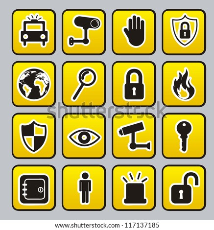 yellow security buttons over gray  background. vector