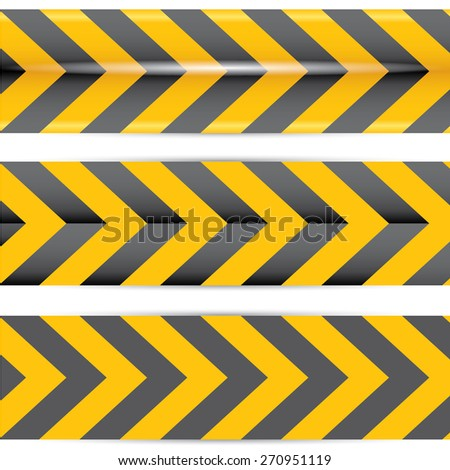 Yellow security warning tapes set Caution, Do not cross, Do not enter, Danger. For web, criminal and law design - stock vector