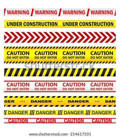 Yellow security warning tapes with text Warning, Under Construction, Caution, Do not enter, Danger. For web, police, detective, criminal and law design - stock vector
