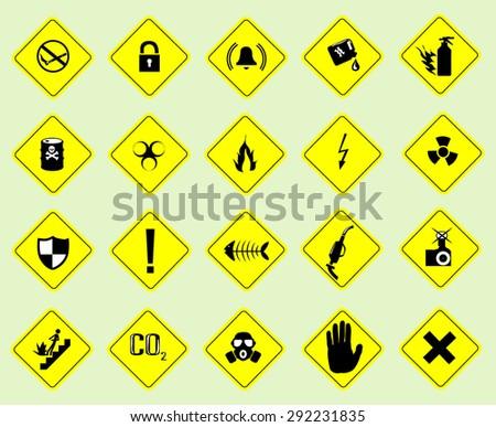 yellow set symbols triangular warning hazard - stock vector