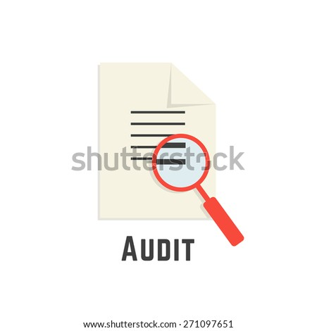 yellow sheet with red magnifier like audit logotype. concept of paperwork, management, statistics, consultant, success, verify, adviser, calculate. flat style modern brand design vector illustration - stock vector
