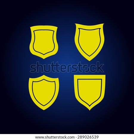 Yellow shield vector icon on a blue background