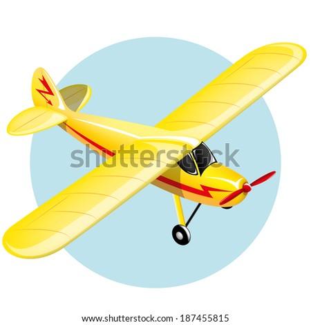 Yellow shiny vintage plane. Gradient mash. Illustration - stock vector