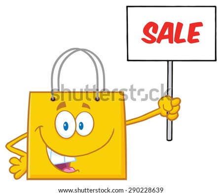 Yellow Shopping Bag Cartoon Character Holding Up A Blank Sign With Text. Vector Illustration Isolated On White - stock vector