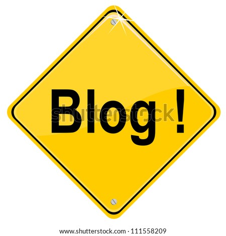 Yellow sign with Blog icon