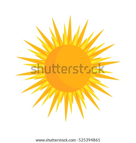 Yellow simple sun icon illustration