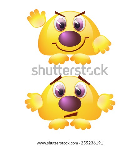 Yellow smiley faces with arms and legs on a white background - stock vector