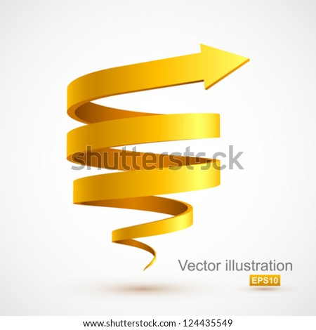 Yellow spiral arrow 3D. - stock vector