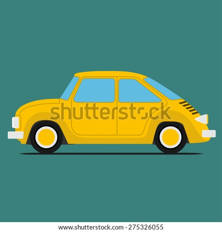 Yellow Sport car. Isolated on green background - stock vector