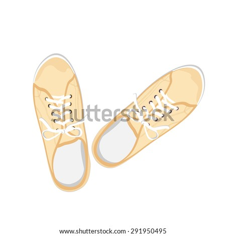 Yellow sport gumshoes. Realistic flat illustration isolated on white background. View from above - stock vector