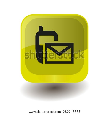 Yellow square button with black sms (mms) sign, vector design for website - stock vector