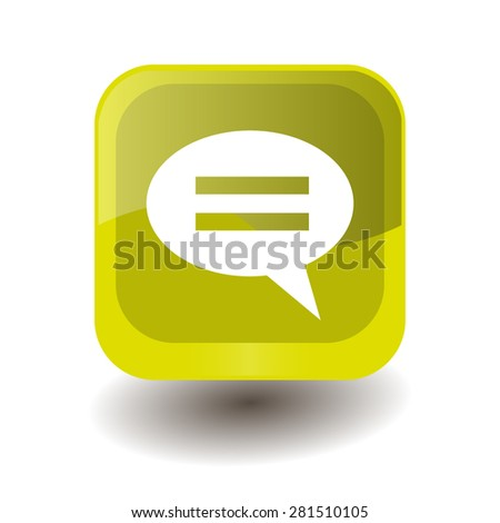 Yellow square button with white comments sign, vector design for website  - stock vector