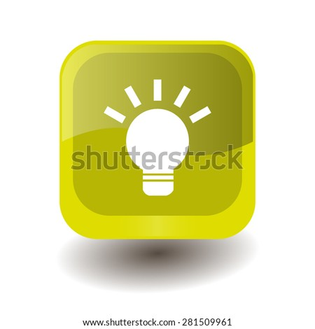 Yellow square button with white light bulb sign, vector design for website  - stock vector
