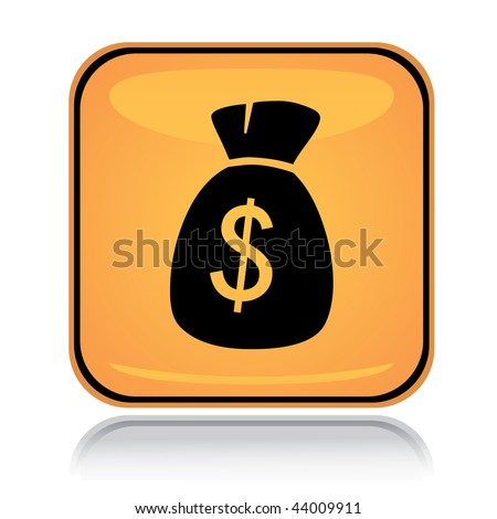 Yellow square icon money sack with reflection over white - stock vector