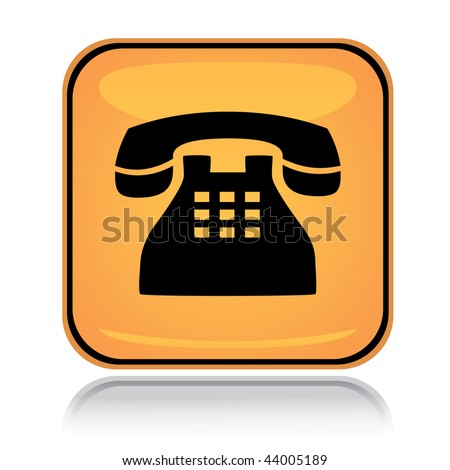 Yellow square icon old phone with reflection over white - stock vector
