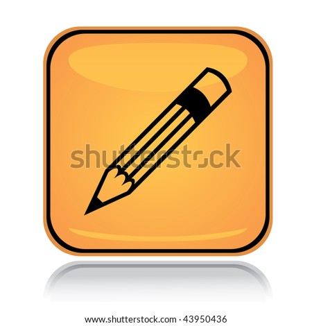 Yellow square icon writing pencil with reflection over white - stock vector