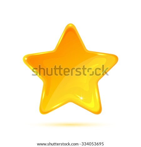 Yellow star isolated on white background, illustration. - stock vector