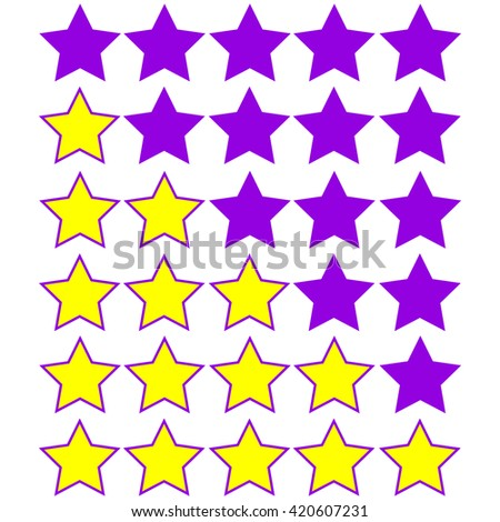 yellow stars of rating on purple stars - stock vector
