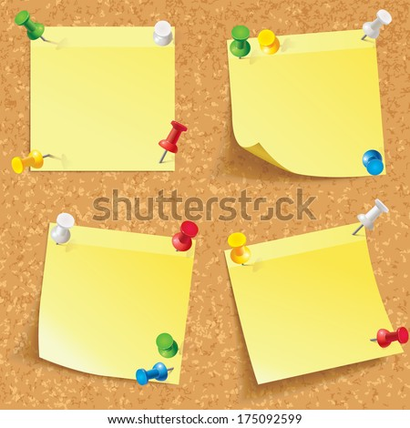 Yellow stick note. Blank notes pinned on corkboard ready for your text. Front view. Vector illustration. Set - stock vector