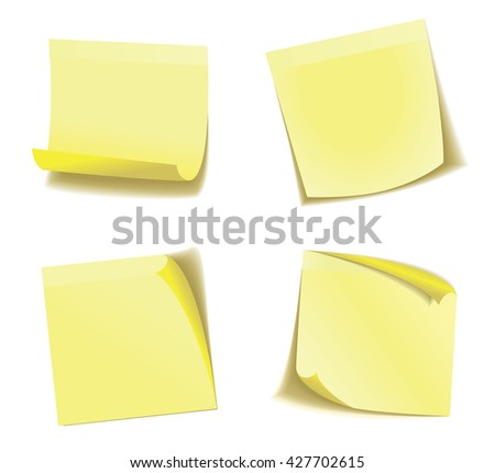 Yellow stick note isolated on white background, Eps 10 vector file.