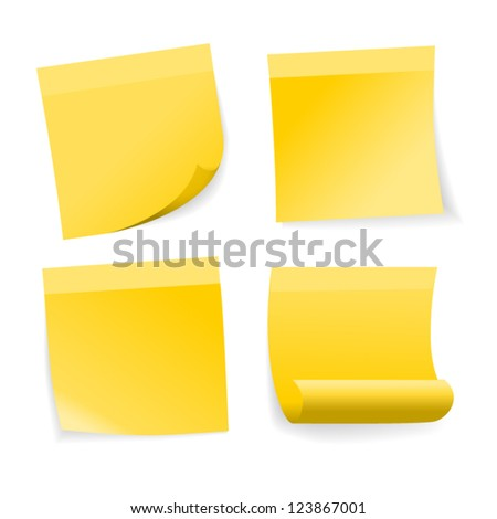 Yellow stick note set on white background, vector. - stock vector