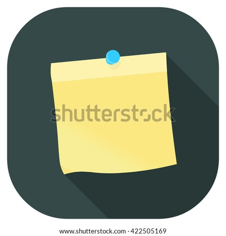 Yellow stick note vector illustration icon Yellow paper note with pin - Flat icon style design. reminder note - concept. - stock vector