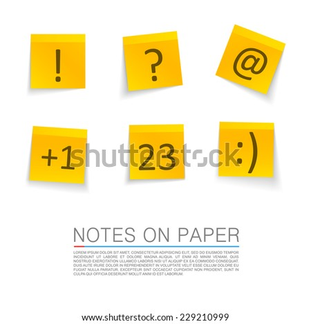 Yellow stick notes isolated on white background. vector illustration