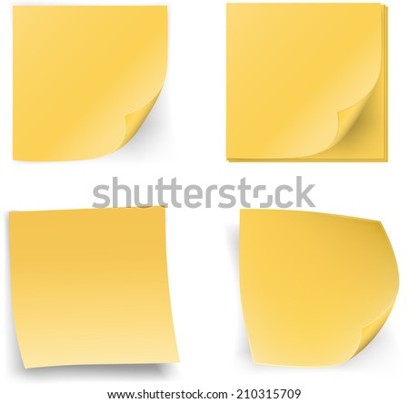 Yellow stick notes on white background, vector illustration