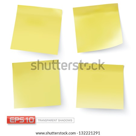 yellow stick notes, vector illustration - stock vector