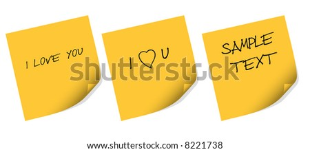 Yellow sticker note with love message - vector illustration - stock vector