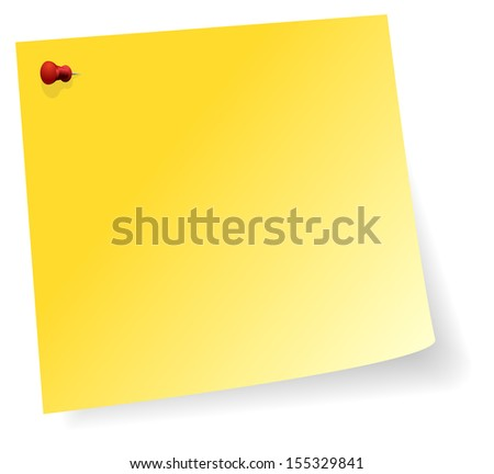 Yellow Sticker Note With Red Pin In Corner