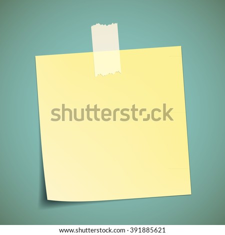 Yellow sticker pasted to the wall with adhesive tape. Stock vector illustration - stock vector